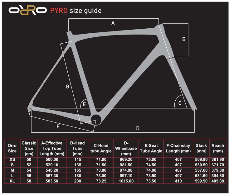 Orro-PYRO-Size-chart